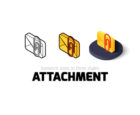 attachment: Attachment icon, vector symbol in flat, outline and isometric style