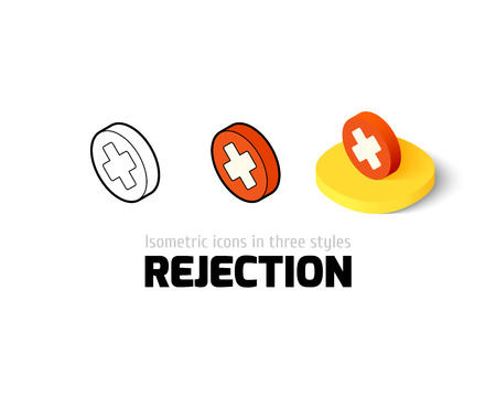 Rejection icon, vector symbol in flat, outline and isometric style