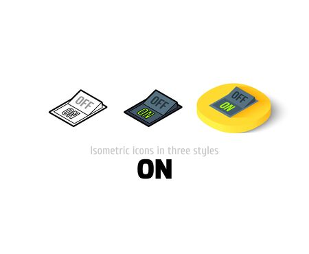 trigger: On icon, vector symbol in flat, outline and isometric style