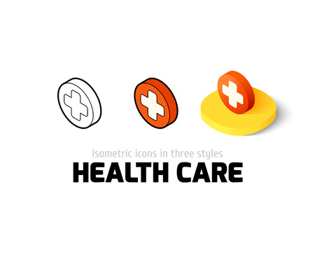 heath: Heath care icon, vector symbol in flat, outline and isometric style