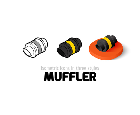 Muffler icon, vector symbol in flat, outline and isometric style