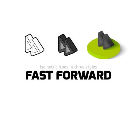 dvd player: Fast forward icon, vector symbol in flat, outline and isometric style
