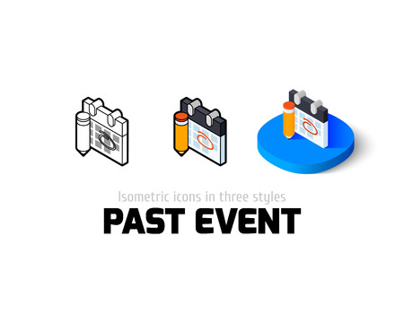 Past event icon, vector symbol in flat, outline and isometric style Illustration