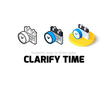 clarify: Clarify time icon, vector symbol in flat, outline and isometric style