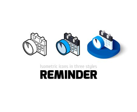 reminder icon: Reminder icon, vector symbol in flat, outline and isometric style