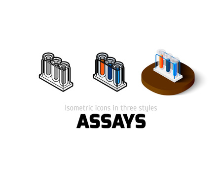 assays: Assays icon, vector symbol in flat, outline and isometric style
