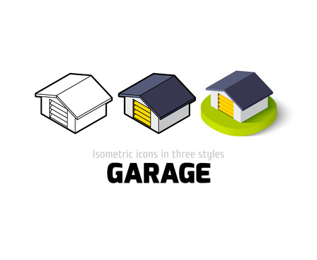 Garage icon, vector symbol in flat, outline and isometric style
