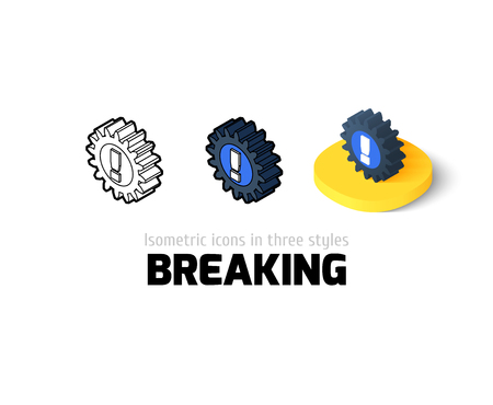 breaking icon, vector symbol in flat, outline and isometric style Illustration