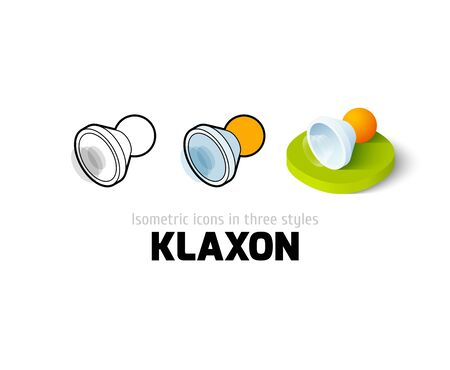 Klaxon icon, vector symbol in flat, outline and isometric style