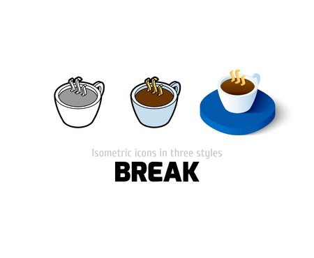 break in: Break icon, vector symbol in flat, outline and isometric style Illustration