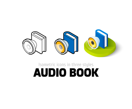 audio book: Audio book icon, vector symbol in flat, outline and isometric style
