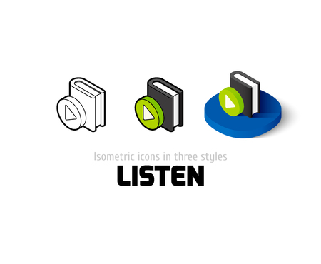 digital library: Listen icon, vector symbol in flat, outline and isometric style
