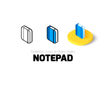 moleskine: Notepad icon, vector symbol in flat, outline and isometric style