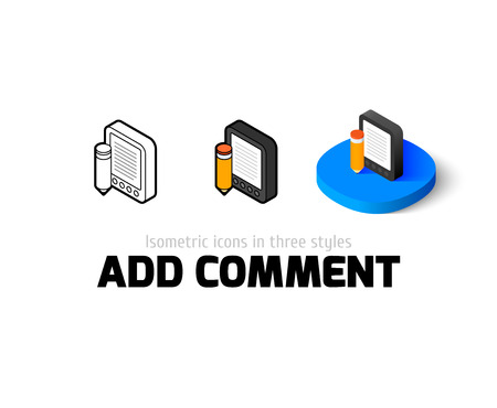 Add comment icon, vector symbol in flat, outline and isometric style Illustration