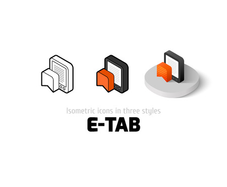 E-Tab icon, vector symbol in flat, outline and isometric style Illustration
