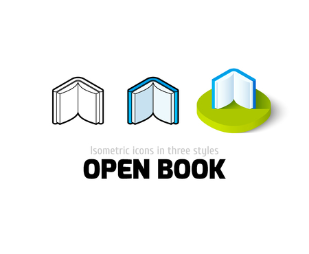 open book icon: Open book icon, vector symbol in flat, outline and isometric style Illustration