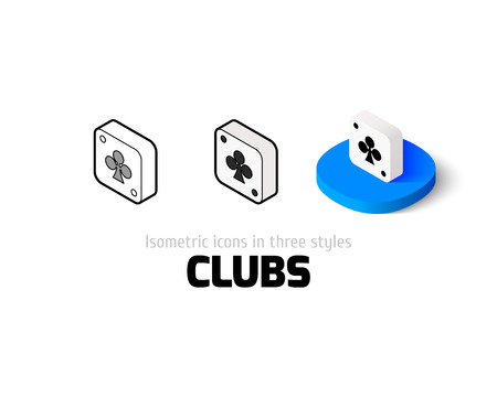 computer club: Clubs icon, vector symbol in flat, outline and isometric style Illustration