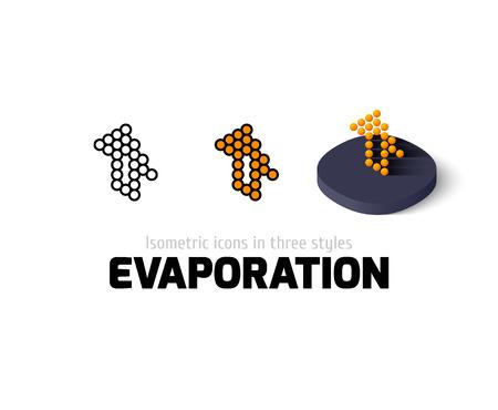 evaporacion: La evaporación del icono, símbolo del vector en el plano, esquema y estilo isométrico