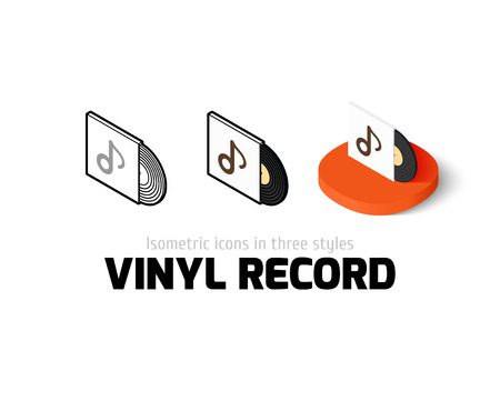 Vinyl record icon, vector symbol in flat, outline and isometric style