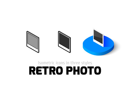 Retro photo icon, vector symbol in flat, outline and isometric style Illustration