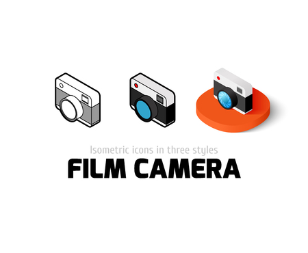 Film camera icon, vector symbol in flat, outline and isometric style Illustration