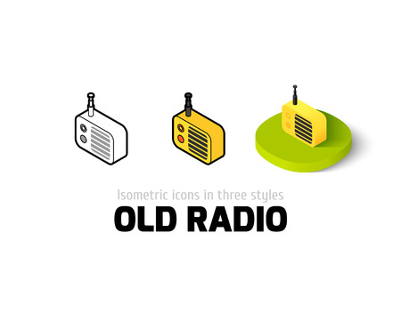 Old radio icon, vector symbol in flat, outline and isometric style