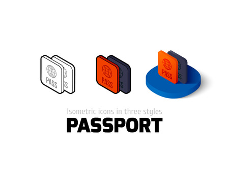 passport icon, vector symbol in flat, outline and isometric style Illustration