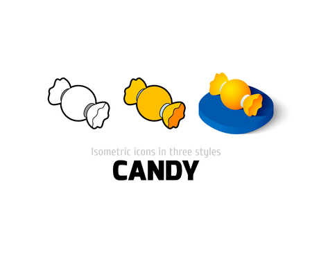 Candy icon, vector symbol in flat, outline and isometric style Illustration