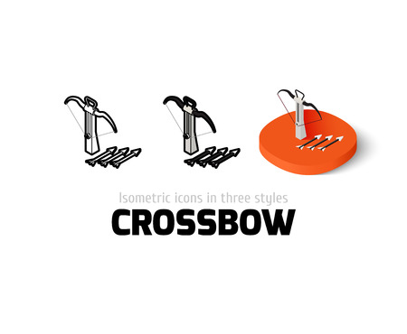 Crossbow icon, vector symbol in flat, outline and isometric style Illustration