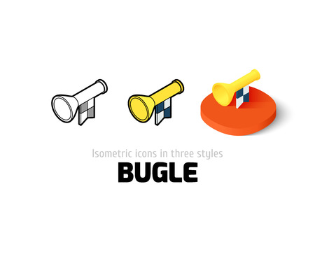 fanfare: Bugle icon, vector symbol in flat, outline and isometric style Illustration