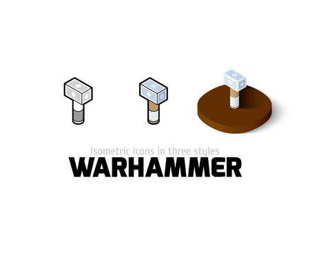 warhammer: Warhammer icon, vector symbol in flat, outline and isometric style