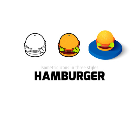 sesame: Hamburger icon, vector symbol in flat, outline and isometric style