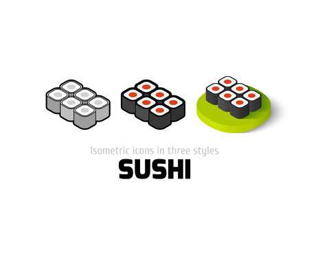Sushi icon, vector symbol in flat, outline and isometric style