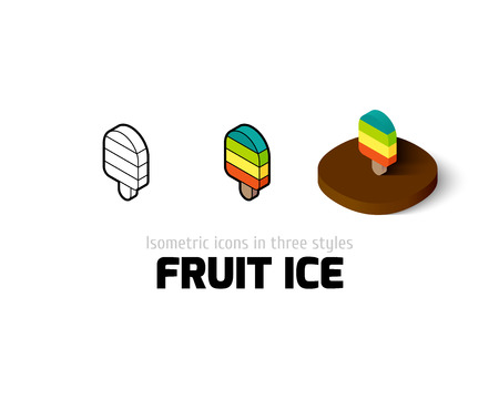 Fruit ice icon, vector symbol in flat, outline and isometric style