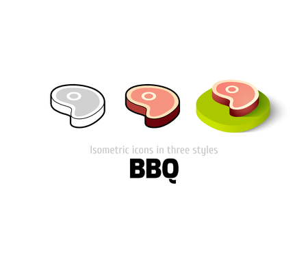 BBQ icon, vector symbol in flat, outline and isometric style Illustration