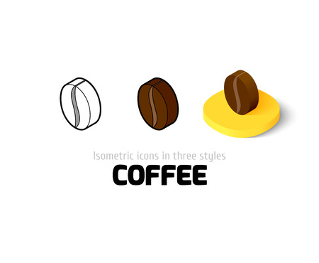 Coffee icon, vector symbol in flat, outline and isometric style