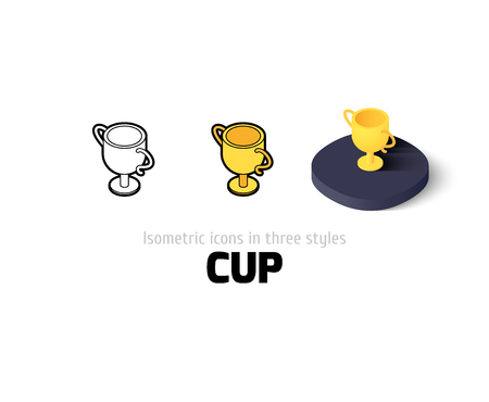 Cup icon, vector symbol in flat, outline and isometric style