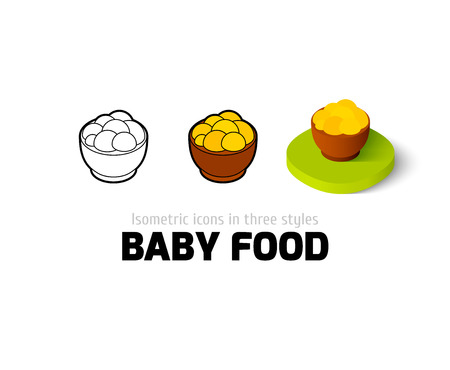 Baby food icon, vector symbol in flat, outline and isometric style