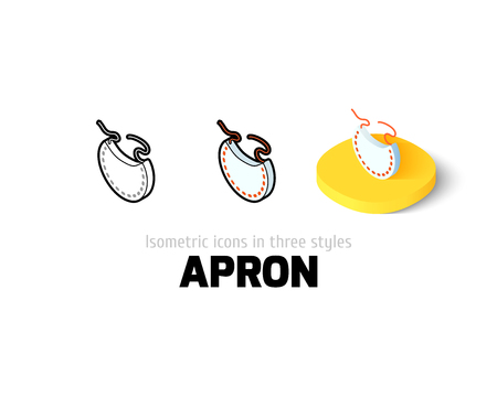 fleecy: Apron icon, vector symbol in flat, outline and isometric style
