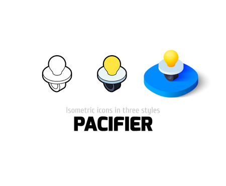 Pacifier icon, vector symbol in flat, outline and isometric style