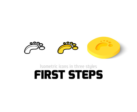 First steps icon, vector symbol in flat, outline and isometric style Illustration