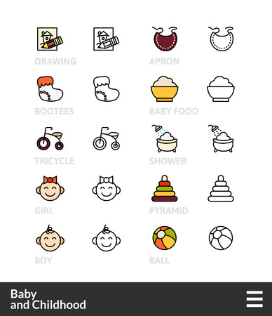 bootees: Black and color outline icons, slim line pictograms vector set 59 - Baby and childhood symbol collection