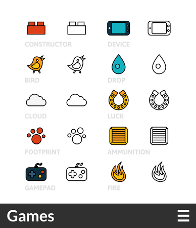 cooler boxes: Black and color outline icons, slim line pictograms vector set 13 - Games symbol collection Illustration