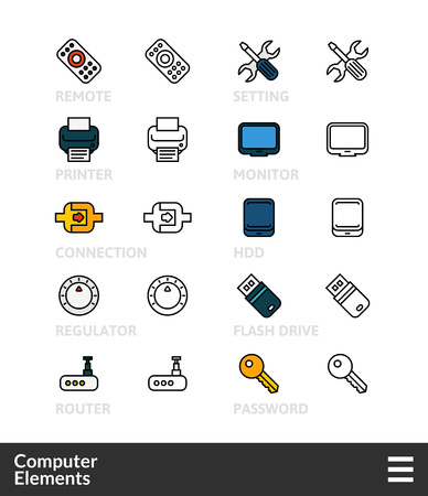 Black and color outline icons, slim line pictograms vector set 4 - computer symbol collection