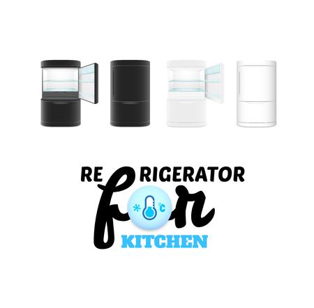 frig: Modern refrigerator isolated on white background, vector illustration