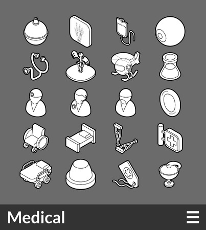 pictogram people: Isometric outline icons, 3D pictograms vector set - Medical symbol collection Illustration