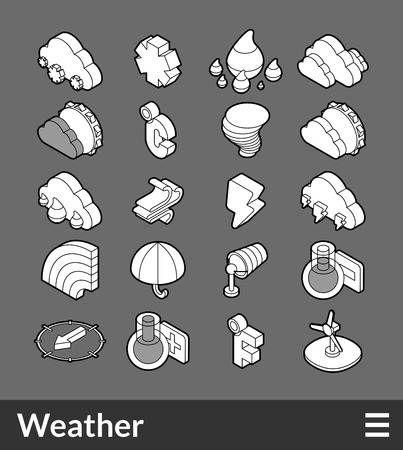 thaw: Isometric outline icons, 3D pictograms vector set - Weather symbol collection Illustration