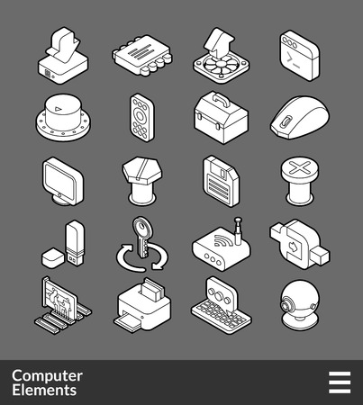 Isometric outline icons, 3D pictograms vector set - computer symbol collection Ilustração