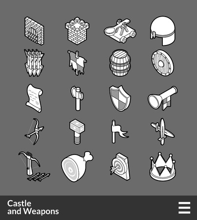 Isometric outline icons, 3D pictograms vector set - Castle and weapons symbol collection Illustration