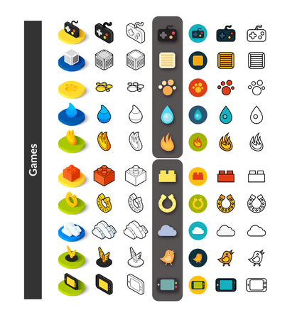 cooler boxes: Set of icons in different style - isometric flat and otline, colored and black versions, vector symbols - Games collection
